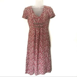 Boden Pin Pleat Tea Floral Dress Size 4